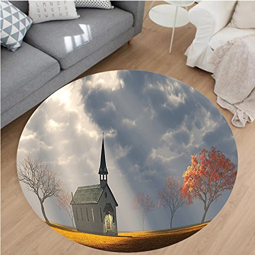 Nalahome Modern Flannel Microfiber Non-Slip Machine Washable Round Area Rug-Christian Small Church Trees View Silky Satin Orange White Gray area rugs Home Decor-Round 75'' by Nalahome