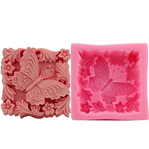 (Inteeon Pet Series Butterfly Silicone cake mold 79 77 32mm Handmade Soap Candle making model)
