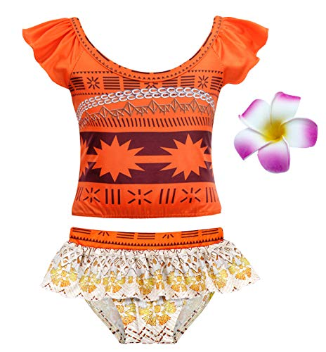 HenzWorld Moana Costume Swimsuit Girls Princess Holiday Birthday Party Cosplay Bathing Beach Pool Flower Hairclip 2T