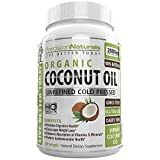 Organic Coconut Oil Capsules / Pills 2000mg/Serving Virgin Cold Pressed Non GMO for Weight Loss, Extra Hair Growth and Healthy Skin. Unrefined Pure Coconut Oil Best Source of MCFA. 60 Servings/Bottle