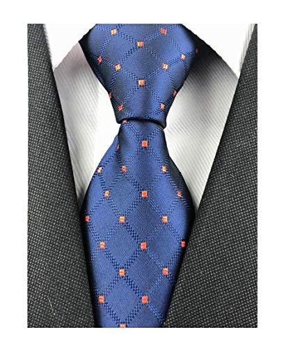 Mens Textured Navy Blue Check Kids Stripe Ties Formal Textured Wedding Self Necktie