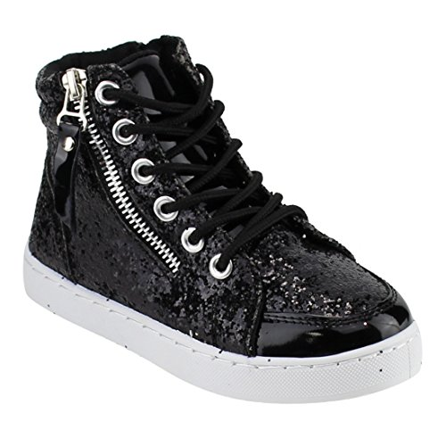 Link Ultra-69K Girls Glitter Lace Up White Sole Ankle High Top Street Sneakers