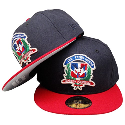 Dominican Republic Flag Shield Custom 59Fifty Fitted - Navy, Red, Green, Silver (7 7/8) (Shield New Era)