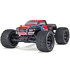 ARRMA GRANITE VOLTAGE MEGA 2WD Electric RC RTR Remote Control SRS Monster Truck with 2.4GHz Radio, Battery (x2), and Charger, 1:10 Scale (Red/Black)