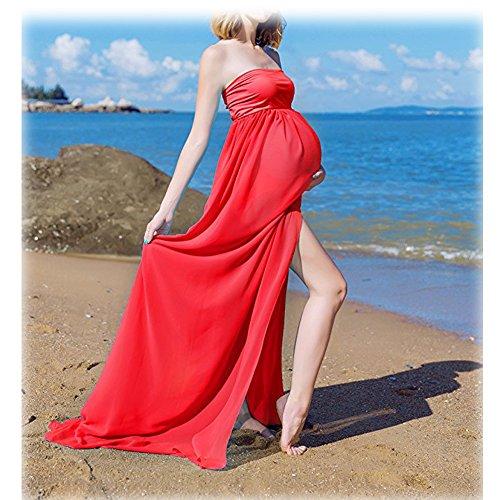 Mujer Embarazada Gasa Larga Vestido de maternidad Split Vista delantera foto Shoot Dress Faldas fotográficas de maternidad Rojo