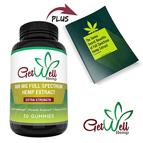 Premium Full Spectrum Hemp Extract Gummy Bears 600 MG, 30 Count, 20 MG per Gummy with Rich Hemp Taste, Great for Skin, Lowers Cholesterol, Rich in Fatty Acids, Omega 6, and Omega 3. Made in USA
