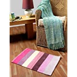 Homescapes - 100% Cotton Chenille - Pink Beige Purple Red Stripe - Candy Stripes Rug - 45 x 65 cm - Washable at Home - Mat for Kids Room or as Bath Matby Homescapes