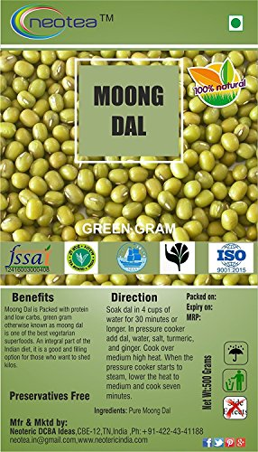 Neotea Moong Dal | Green Gram | Paasi Paruppu, 500g by neotea