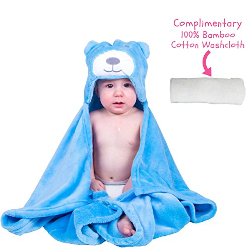 Towel Hygienic Costume (Baby Boy Girl Bath Plush Robes Bear Hooded Blanket with Complimentary Towel - Best for Baby Shower and Newborn By)