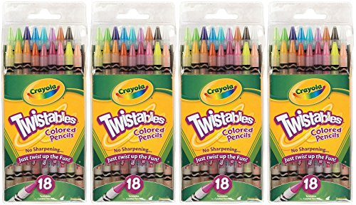 Crayola Twistables Colored Pencils, No Sharpening Needed, 18 Count (Pack of 4) Total 72 -