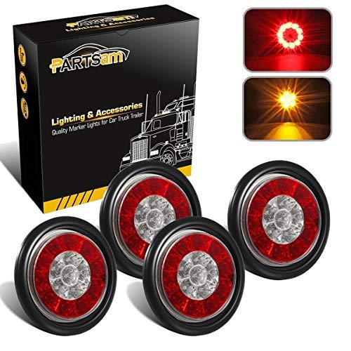 (Partsam 4Pcs Red/Amber Round led Trailer Tail Lights 16 LED Brake Stop Turn Signal Tail Lights Flush Mount, 4 Inch Round Led Tail Lights, Trailer Truck RV 4 Inch Round Led Lights Taillights)