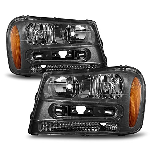 ACANII - For Black 2002-2009 Chevy Trailblazer Replacement Headlights Lamps Driver + Passenger Side 02-09