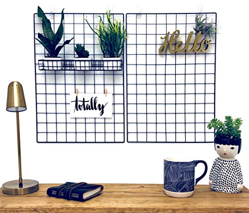 - PrairieLand Wall Grid Photo Display Organizer Hanging Art, Decorations Dorm Decor; Metal Wire Panel Board Picture Holder; Set of 2 Black Iron Mesh Gridwall Rack Panels Clips; Grids to Hang Pictures