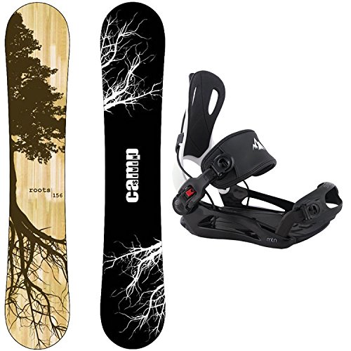 Camp Seven Roots CRC and 2018 System MTN Flow Style Rear Entry Step In Binding Men's Snowboard Package