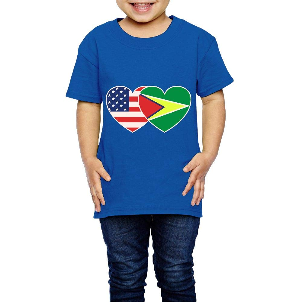 XYMYFC-E Guyana USA Flag Twin Heart 2-6 Years Old Boys /& Girls Short Sleeve Tshirts