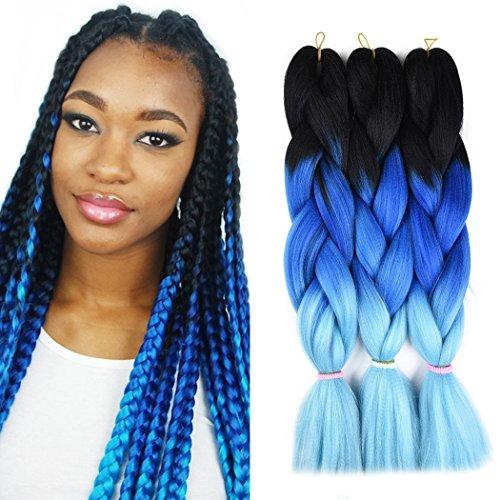 Ombre Jumbo Braid Hair 3pcs/lot Synthetic Hair Extensions 3 Tone Braiding Hair 100g/pcs Kanekalon Fiber For Twist Braiding Hair (Black-Dark Blue-Light Blue) ()