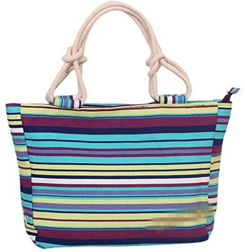 Women's Canvas Travel Bag Student Drawstring Bucket Backpack (Blue) - 6