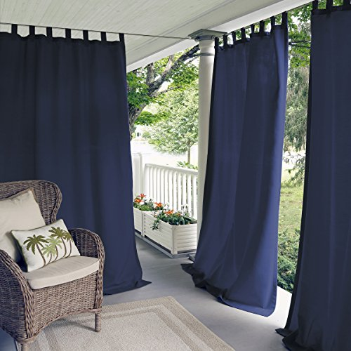 Elrene Home Fashions 026865643084 Indoor/Outdoor Solid Tab Top Single Panel Window Curtain Drape, 52