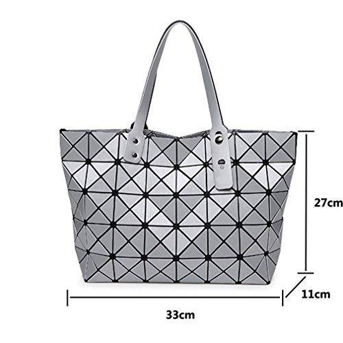Bag Bag Matt Women Fashion Casual Shoulder Bag Bag Geometric Handbag Shoulder Folding Tote Drawing Metal Beige Handle S7wUAS