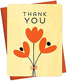 product image for Night Owl Paper Goods Graphic Tulips Real Wood Thank You Card