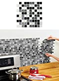 Mosaic Peel and Stick Tiles Black and White (Set of 6)