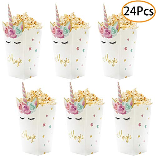 Party Favor Popcorn Boxes (24Pcs Unicorn Birthday Party Supplies Unicorn Popcorn Box Snack Treat Box Candy Cookie Container For Baby Shower, Bridal Shower, Unicorn Theme Party Favors)