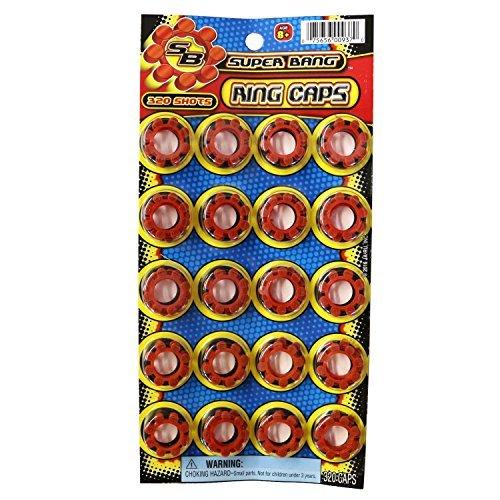 8 Shot Cap Guns (8 Shot Plastic Ring Capsules Super Bang Caps 2 Sheets of 320 Shots (640 Shots Total))
