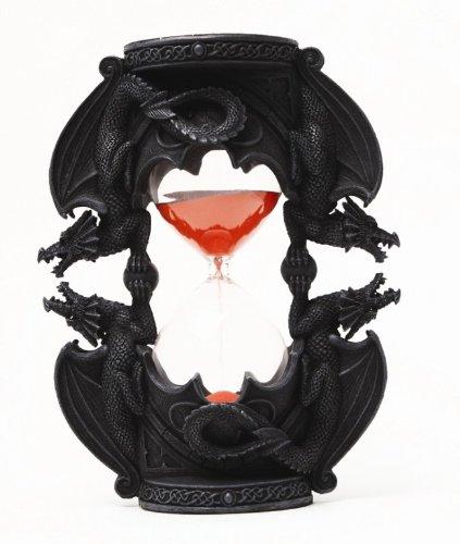 (PTC 7.38 Inch Black Dual Dragon Sand Timer Hourglass Statue Figurine)
