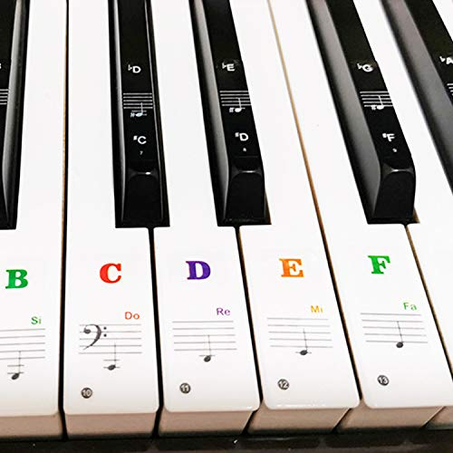 88/61/54/49/37 Key Keyboard Stickers, Removable Piano Sticker, Coated with Long Lasting Adhesive Material, Can be Pasted Repeatedly, Piano Keyboard Letters Notes Label for Beginners and Kids(Colorful)