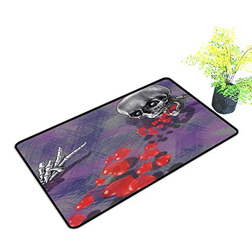Diycon Thin Door mat Skull Decor Skeleton in Love Throw Out Puke of Hearts Romantic Gesture Valentines Art W35 xL47 Easy to Clean Carpet Grey Red and -