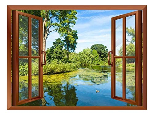 Lush Green Woodland Park Reflecting in Tranquil Pond in Sunshine Removable Wall Sticker Wall Mural