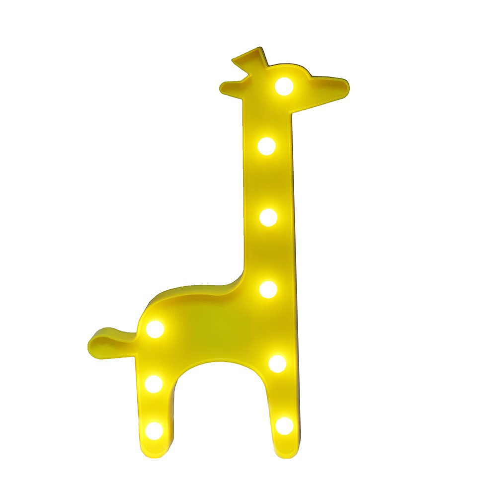 Giraffe Marquee Light GUOCHENG Decor Light LED Night Light Wall Decor Battery Operated Table Lamps for Party Children Kids Bedroom Lighting Decoration Birthday,Christmas Gifts for Kids(Yellow Giraffe)