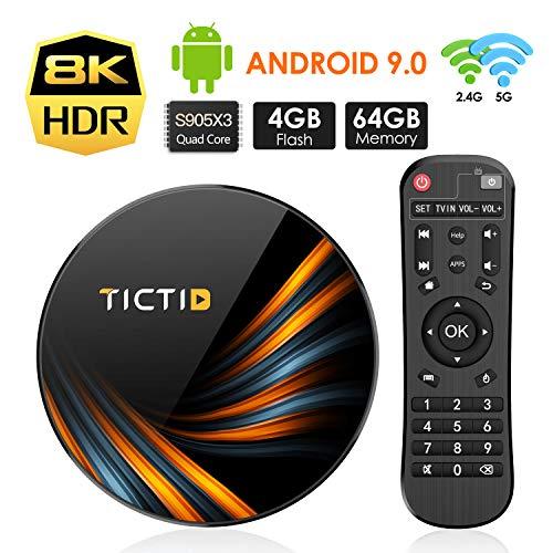 Android 9.0 TV Box TICTID 4GB RAM 64GB ROM TX6 Plus Smart TV Box S905X3 Quad-core 64bit Unterstützt 8K/1000M LAN/1080P/USB 3.0/H.265/WIFI 2.4G/5G Android TV Box Media Player