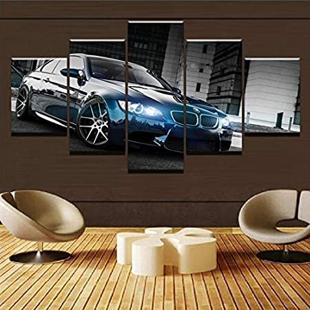 aicedu Impressions sur Toile Toile Imprim/é Affiche Home Decor 5 Pi/èces HD BMW M3 Noir Sport Voiture Peintures Mur Art Photo Salon Modulaire Encadr/é-Cadre