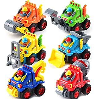 UMIKU 6PCS Toddler Car Toys for 1 2 3 Year Old Boy Toddler Toys Push and Go Cars Toy Trucks for Toddlers Early Educational Baby Toys Friction Powered Construction Vehicle Toys Cars Boys Kids Gifts