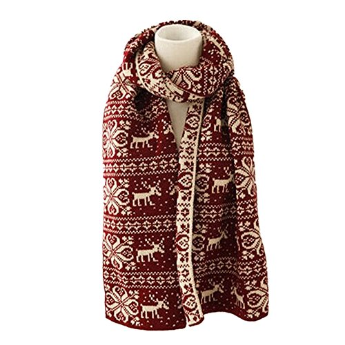 Scarf Muffler Reindeer Patterned Knit Weave Colored Warm Girls For Cold Weather (Dark Red) by SXON (Image #2)