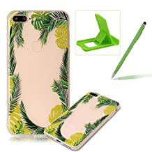 Clear Case for iPhone 7 Plus,Soft TPU Cover for iPhone 7 Plus,Herzzer Ultra Slim Pretty [Green Leaves Pattern] Silicone Gel Bumper Flexible Crystal Transparent Skin Protective Case + 1 x Free Green Cellphone Kickstand + 1 x Free Green Stylus Pen