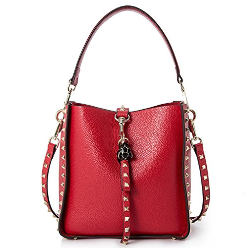 Red AI BAO Women's Spring Summer Leather Bucket Bag Large-Capacity Shopping Bag Shoulder Diagonal Tote Handbag