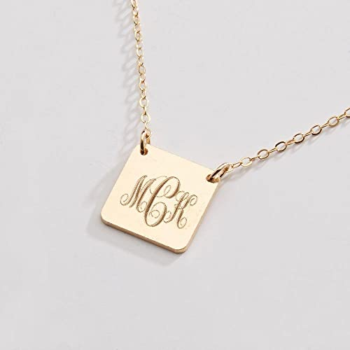 d5e09bc06 Amazon.com: Custom Monogram Necklace-Personalized 1/2 inch  Square-Interlocking-Geometric Shape-14k Gold Filled,Rose Gold  Filled,Sterling Silver-CG259N: ...