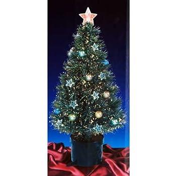 Amazon.com: 2FT GREEN FIBRE OPTIC CHRISTMAS TREE WITH STARS AND ...