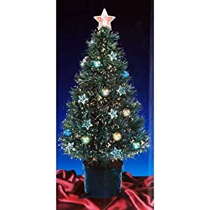2ft green fibre optic christmas tree with stars and baubles with black base - 2 Ft Christmas Tree