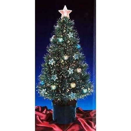2FT GREEN FIBRE OPTIC CHRISTMAS TREE WITH STARS AND BAUBLES WITH BLACK BASE - 2FT GREEN FIBRE OPTIC CHRISTMAS TREE WITH STARS AND BAUBLES WITH