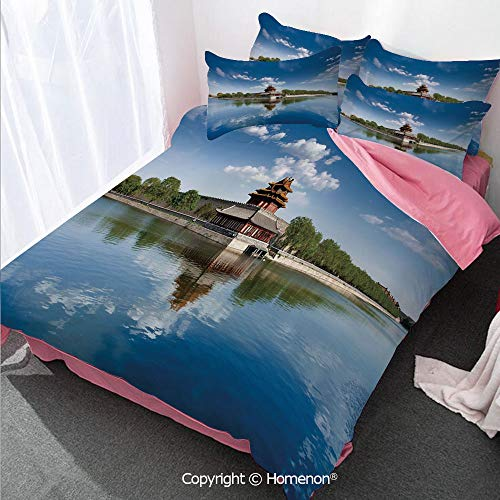 Ancient China Decorations girl's Room Duvet Cover Set Twin Size,Historical Architecture Imperial Palace Trees Sea Blue Sky D,Decorative 3 Piece Bedding Set with 2 Pillow Shams Blue Green Brown