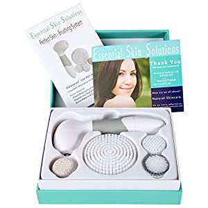Essential Skin Solutions - Face and Body Brush Cleansing System - Exfoliating Facial Brush Microdermabrasion Pore Minimizer to Clean Skin + Help Get Rid of Acne - Dark Spots - and Blackheads