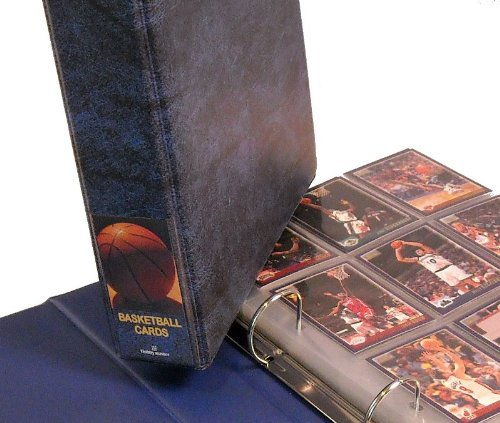Hobbymaster Basketball Card Album with 25 Pages, Blue Basketball Design - Basketball Collectors Album