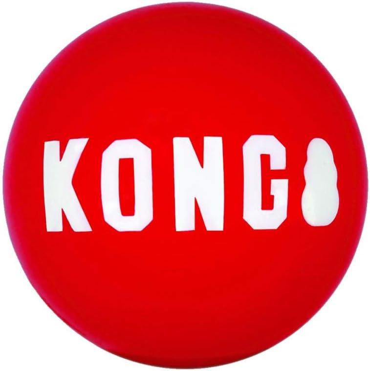 KONG – Pack de 2 Signature Balls - Juguete de Recompensa Duradero - para Perros Medianos