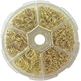 PEPPERLONELY Brand, 1510PC 3mm ~ 9mm Assorted Size Golden Tone Open Jump Rings, 18 Gauge