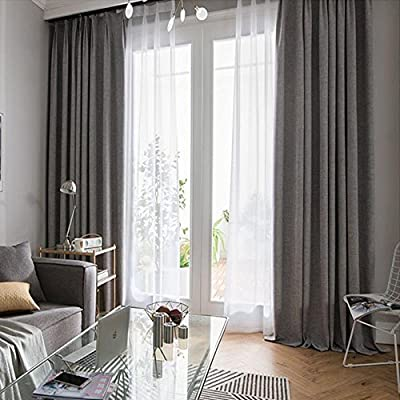 Algodón y lino + Blanca hilo verdunklungs cortinas Gris y Verde ...