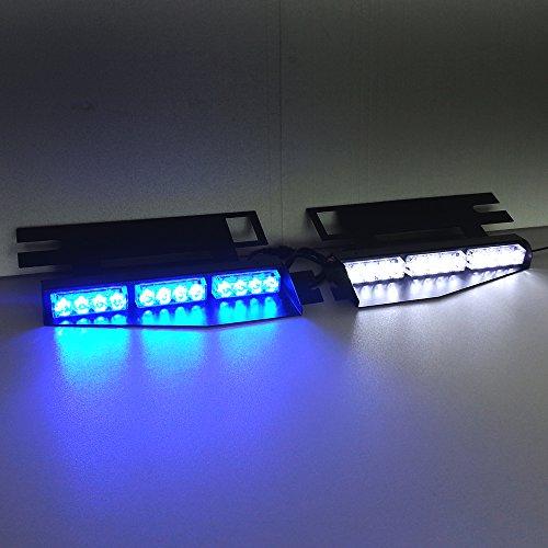 Police Dash Light (Szcafelimy Blue/White 2 x 12 LED LED Light Exclusive Split Visor Deck Dash Police light Strobe Warning LightBar Anti-explosion light Fire light)