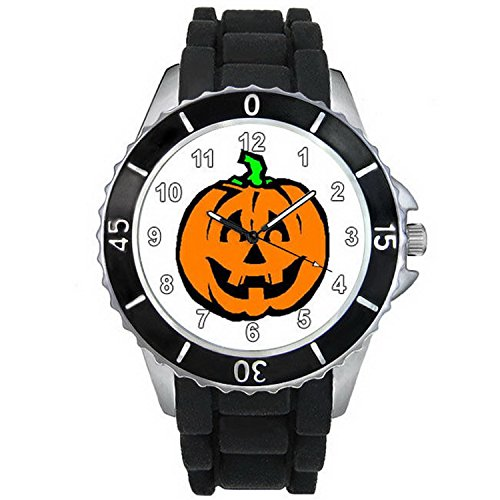 BMSC446 Halloween Pumpkin Black Jelly Silicone Band Mens Ladies Sports Wrist Watch